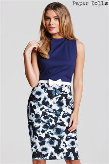 Paper Dolls Top With Multi Print Skirt And Bow Waistband Detail
