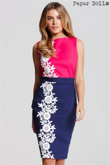 Paper Dolls Two Tone Dress With Lace Detailing