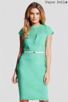 Paper Dolls Dress With Lace Detail And Belt