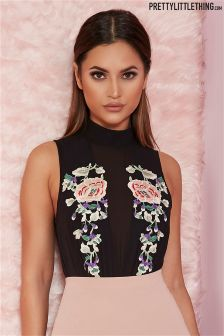 Pretty Little Thing Embroidered Chiffon Bodysuit