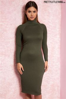 Prettylittlething Wide Ribbed Knitted Midi Dress