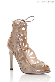 Little Mistress Pewter High Lace Cut Out Heel