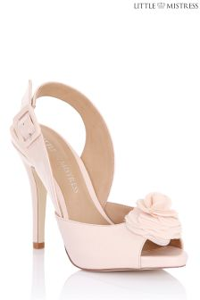 Little Mistress Sling Back Chiffon Flower Heel