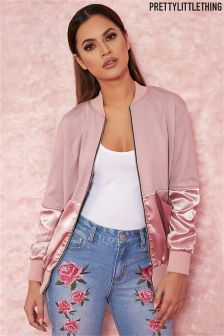 PrettyLittleThing Satin Panel Bomber Jacket