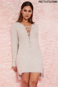 PrettyLittleThing Lace Up Mohair Jumper Dress