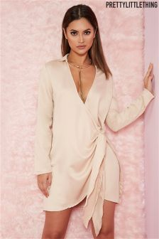 PrettyLittleThing Tie Side Satin Shirt Dress