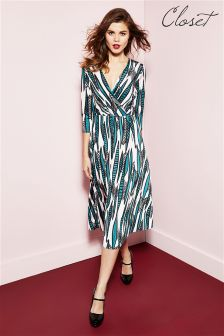 Closet Cross Over 3/4 Sleeve Midi Dress
