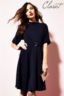 Closet Cut Out Sleeve Belted Skater Dress