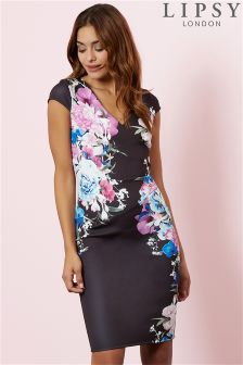 Lipsy Floral Printed Wrap Bodycon Dress
