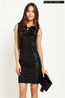 Noisy May Lace-Up Suedette Dress