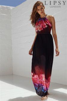 Lipsy Floral Print Pleated Maxi Dress