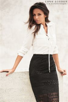 Lipsy Love Michelle Keegan Lace Up Blouse