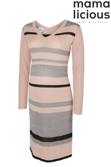Mamalicious Maternity Long Sleeve Stripe Knit Dress