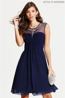 Little Mistress Embellished Skater Dress