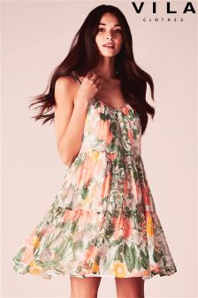 Vila Botanical Print Strappy Dress