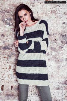 Noisy May Favourite Neck Stripe Knit Jumper
