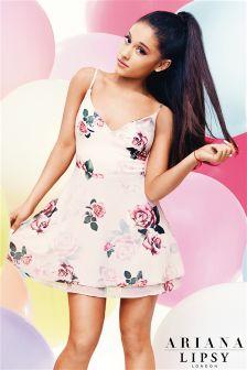 Ariana Grande For Lipsy Rose Print Layered Skater Dress