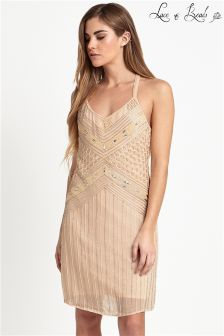 Lace & Beads Halter Strap Embellished Dress