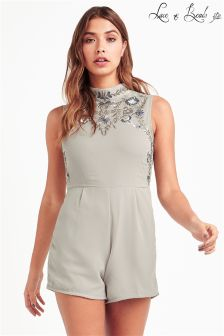Lace & Beads Floral Embroidered Playsuit