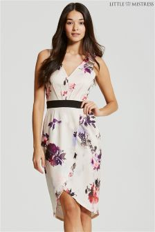 Little Mistress Petal Print Plunge Midi Dress