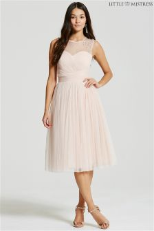 Little Mistress Embellished Sheer Midi Dress