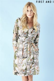 First and I Printed Wrap Dress