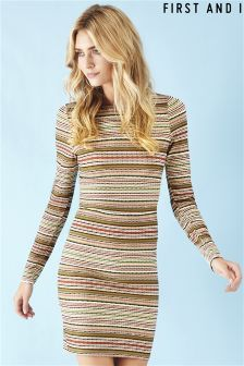 First and I Stripe Bodycon Dress