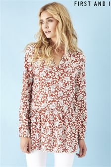First and I Dropped Waist Floral Shirt Dress