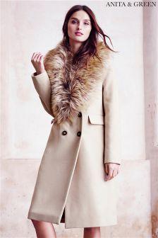 Anita & Green Faux Fur Trim Coat