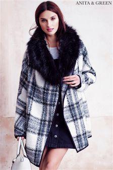 Anita & Green Faux Fur Trim Check Coat