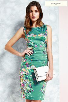 Uttam Boutique Cascading Floral Mirrored Jersey Dress