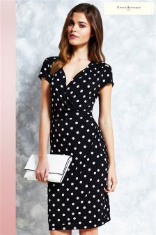 Uttam Boutique Polka Dot Jersey Wrap Dress