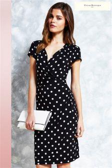 Uttam Boutique Polka Dot Jersey Wrap Dress
