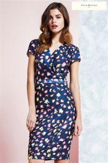 Uttam Boutique Leopard Print Slinky Jersey Wrap Dress