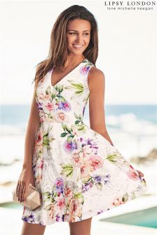 Lipsy Love Michelle Keegan Floral Print Prom Dress