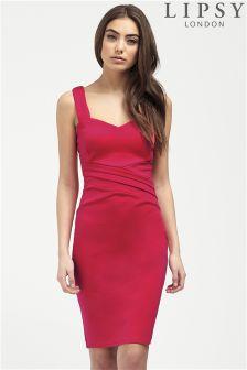 Lipsy Pink Sweetheart Pleated Shift Dress