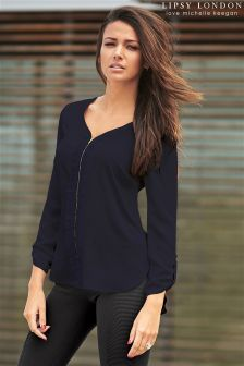 Lipsy Love Michelle Keegan Zip Navy Ruffle Blouse