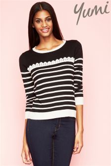 Yumi Stripe Jumper With Lace Detail