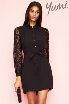 Yumi Long Line Shirt With Lace Sleeve Detail