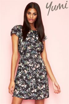 Yumi Bird Print Midi Dress
