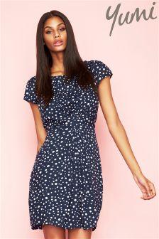 Yumi Pleated Front Dot Dress