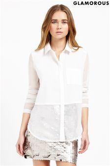 Glamorous Long Sleeve Sheer Blouse