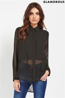 Glamorous Long Sleeve Sheer Blouse