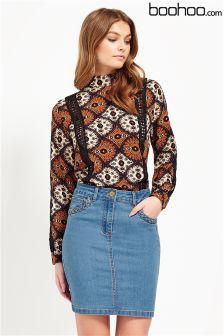 Boohoo Plait Pocket Denim Midi Skirt