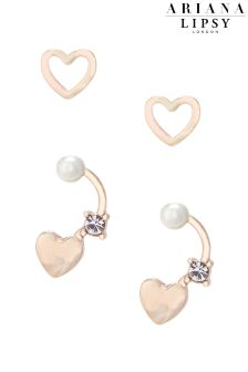 Ariana Grande For Lipsy Heart 2 Pack Pearl Earrings