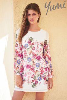 Yumi Botanical Floral Print Shift Dress