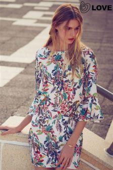 Love Floral Print Bell Sleeve Shift Dress