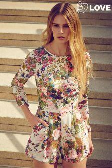 Love Long Sleeve Floral Print Playsuit
