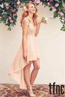 Tfnc Dip Hem Embellished Shoulder Detail Dress