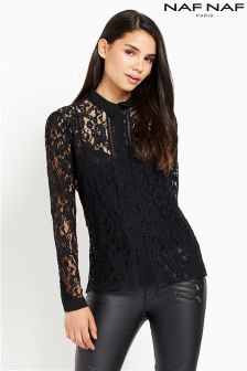 Naf Naf Lace Long Sleeve Blouse